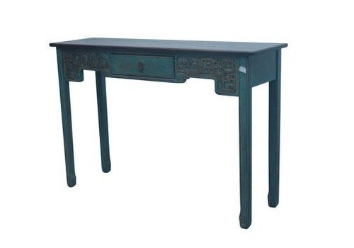 Fine Asianliving Chinese Sidetable Blue with Carvings