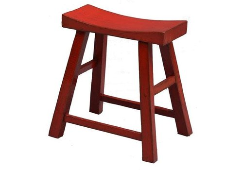 Fine Asianliving Chinese Stool Glossy Red W46xD21xH52cm