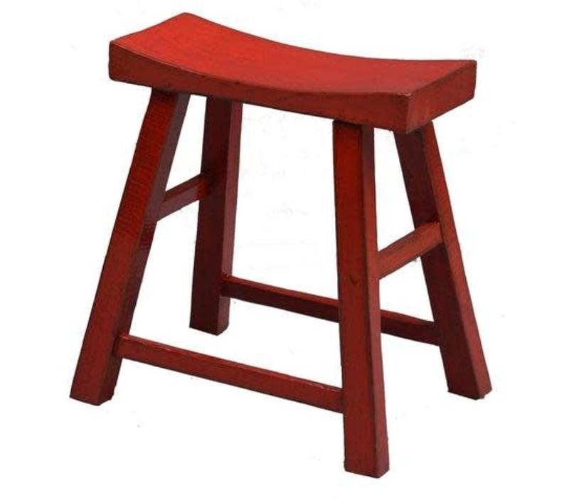 Chinese Stool Glossy Red W46xD21xH52cm