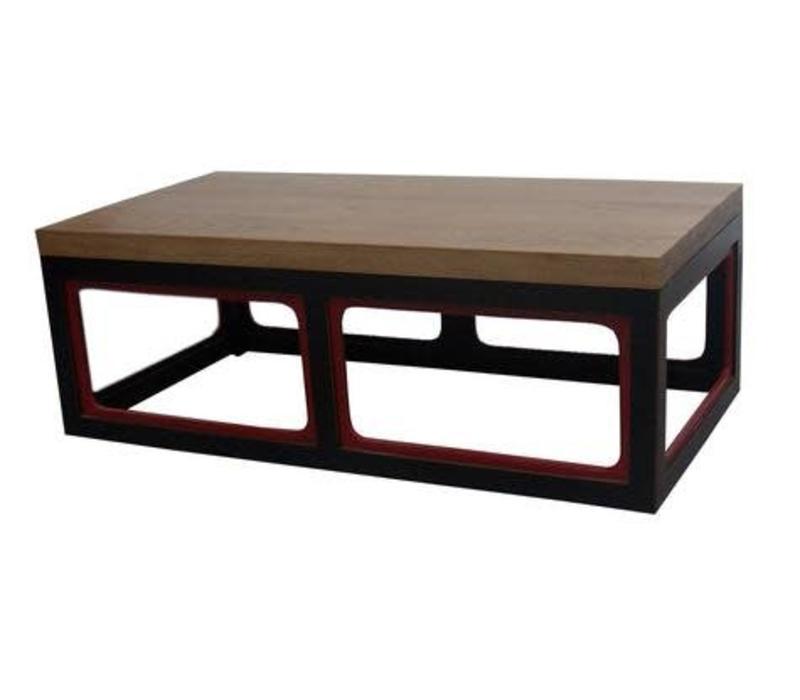 Chinese Salontafel Massief Hout Rechthoek Zwart Rood