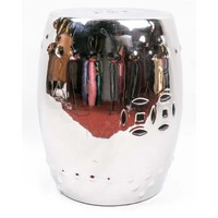 Fine Asianliving Ceramic Garden Stool Porcelain Asian Style Silver
