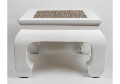 Fine Asianliving Fine Asianliving Chinese Coffee Table with Handbraided Bamboo White Small