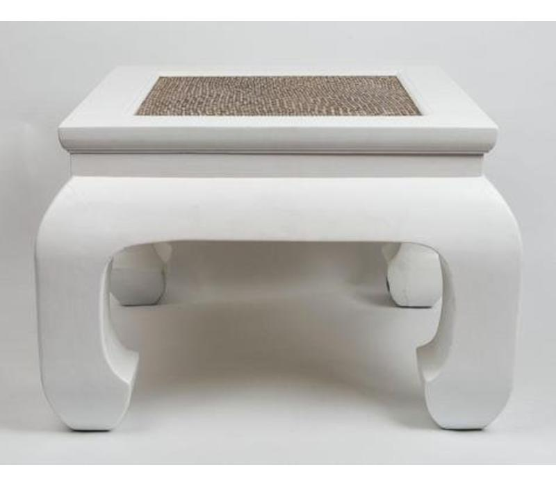 Chinese Coffee Table with Handbraided Bamboo White Small