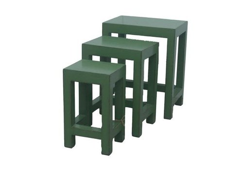 Fine Asianliving Chinese Side Tables Stools Set / 3 Green
