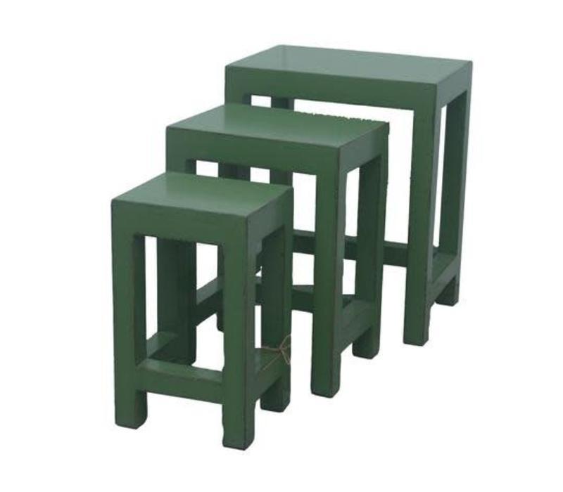 Chinese Bijzettafels Krukken Set/3 Groen