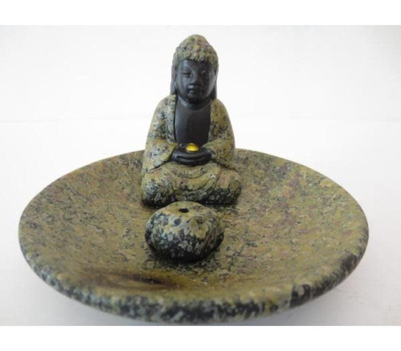 Wierookbrander Boeddha op Schaal Bruin