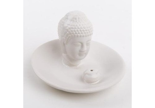 Fine Asianliving Incense holder Buddha head on white plate