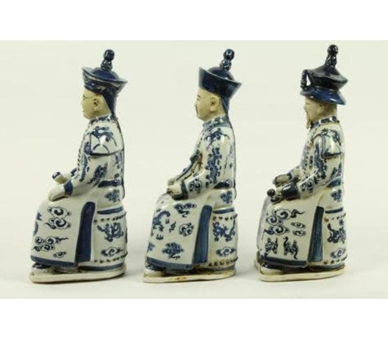 Chinese Emperor Porcelain Figurine Three Generations Qing Dynasty Statues Blue and White Set/3