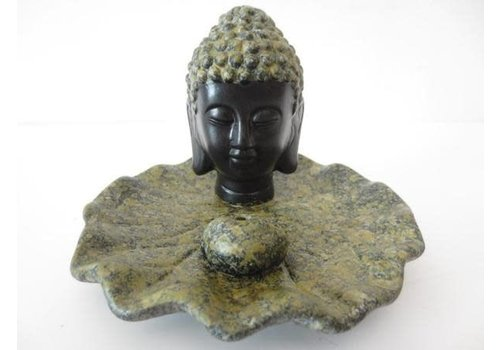Fine Asianliving Incense holder Buddha Head on Lotus Brown