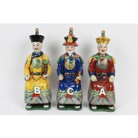 Chinese Emperor Porcelain Figurine Three Generations Qing Dynasty Statues - Longevity and Wisdom C