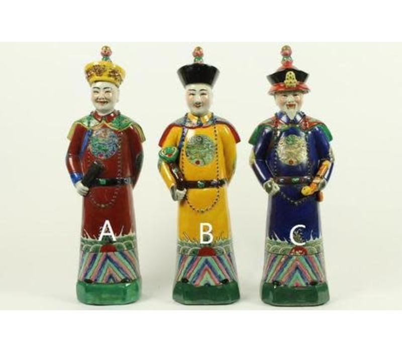 Chinese Emperor Porcelain Figurine Three Generations Qing Dynasty Statues Blue Grandfather - Longevity and Wisdom C