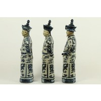 Chinese Emperor Porcelain Figurine Three Generations Qing Dynasty Statues Handmade Set/3