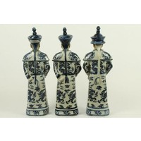 Chinese Keizers Porselein Beelden Handgemaakt Blauw-Wit Set/3
