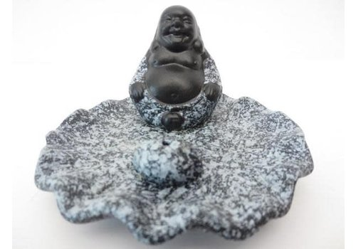 Fine Asianliving Incense holder Smiling Buddha on Lotus Gray