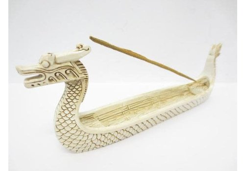 Fine Asianliving Incense holder Chinese Dragon Boat White