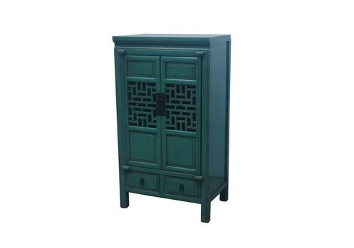 Fine Asianliving Fine Asianliving Antique Conçu Chinois Cabinet Fait Main Sarcelle L57xW38xH105cm