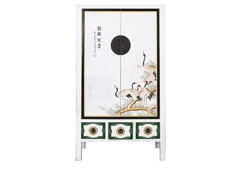 Fine Asianliving Antique Chinese Cabinet Handpainted Cranes white