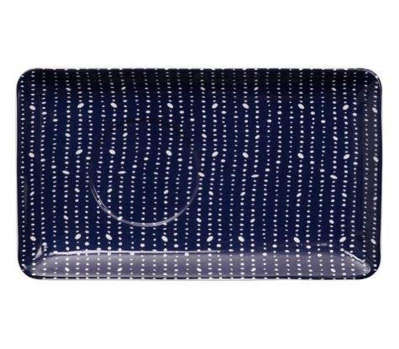 Blue de'Nimes Plate 20.5x12.5cm Pebble