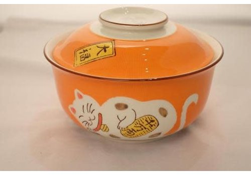 Fine Asianliving Japanese  Tableware  Lucky Cat Bowl White Lid Large 17.5cm