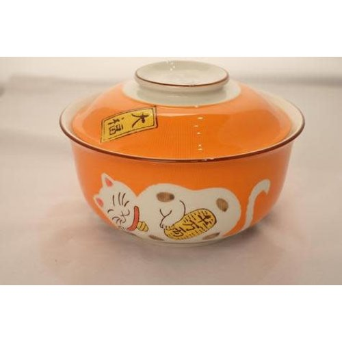 Japans Servies Lucky Cat Kom Large met Deksel Oranje 17.5cm