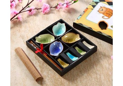 Fine Asianliving Chinees Servies 12-delig Giftset Glassy Kleur Vis Porselein