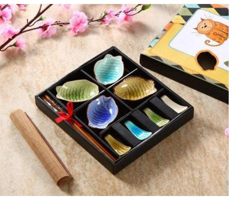 Chinese Tableware 12-delig Giftset Glassy Colour Vis Porcelain