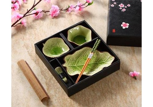 Fine Asianliving Chinese Tableware 5-delig Giftset Glassy Green Blad Porcelain