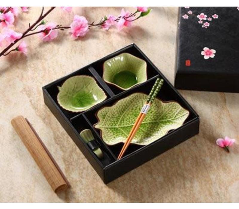 Chinese Tableware 5-delig Giftset Glassy Green Blad Porcelain