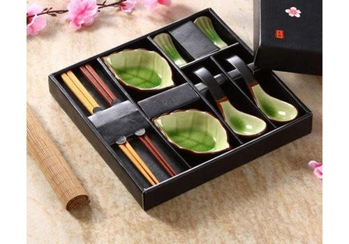 Fine Asianliving Chinees Servies 8-delig Giftset Glassy Green Lepels Porselein