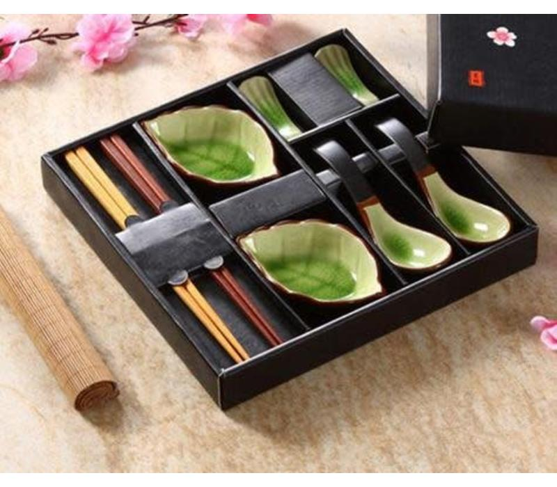 Chinees Servies 8-delig Giftset Glassy Green Lepels Porselein