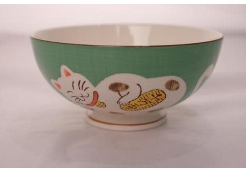 Fine Asianliving Japans Servies Lucky Cat Kom Medium Groen 15cm