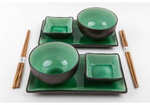 Fine Asianliving Glassy Green Sushi Set voor Twee Personen compleet giftset met eetstokjes kom schalen borden