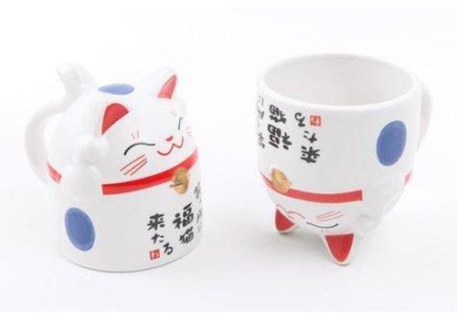 Fine Asianliving Cat Mug Blue 8.5 x 9.8 cm