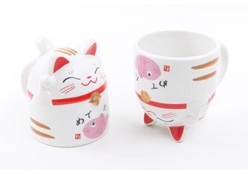Fine Asianliving Kat mok roze 8.5 x 9.8 cm