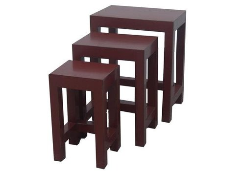 Fine Asianliving Fine Asianliving Chinese Side Tables Stools Set / 3 Red