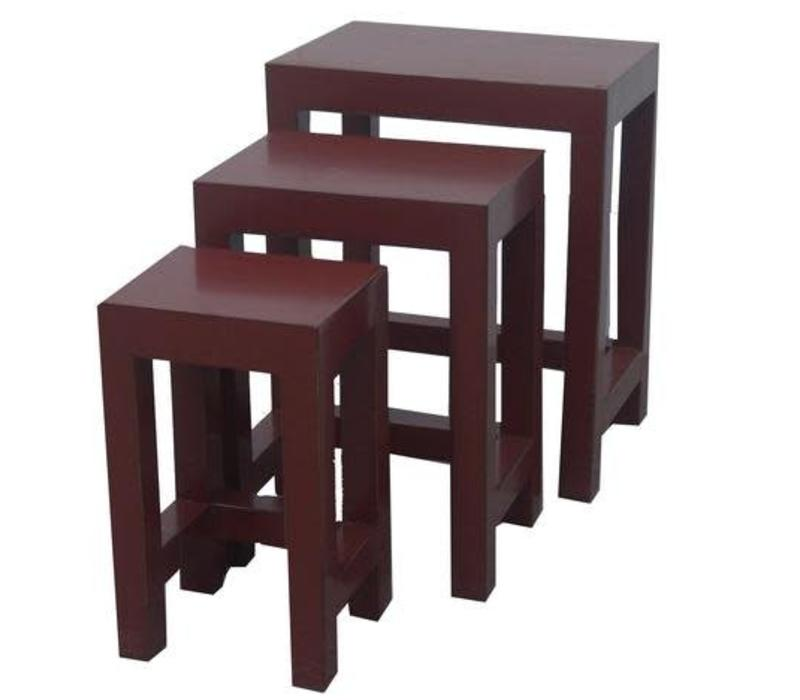 Chinese Bijzettafels Krukken Set/3 Rood