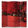 Fine Asianliving Fine Asianliving Room Divider Privacy Screen 4 Panel Red Autumn L160xH180cm