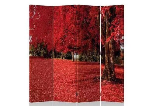 Fine Asianliving Fine Asianliving Room Divider Privacy Screen 4 Panel Red Autumn