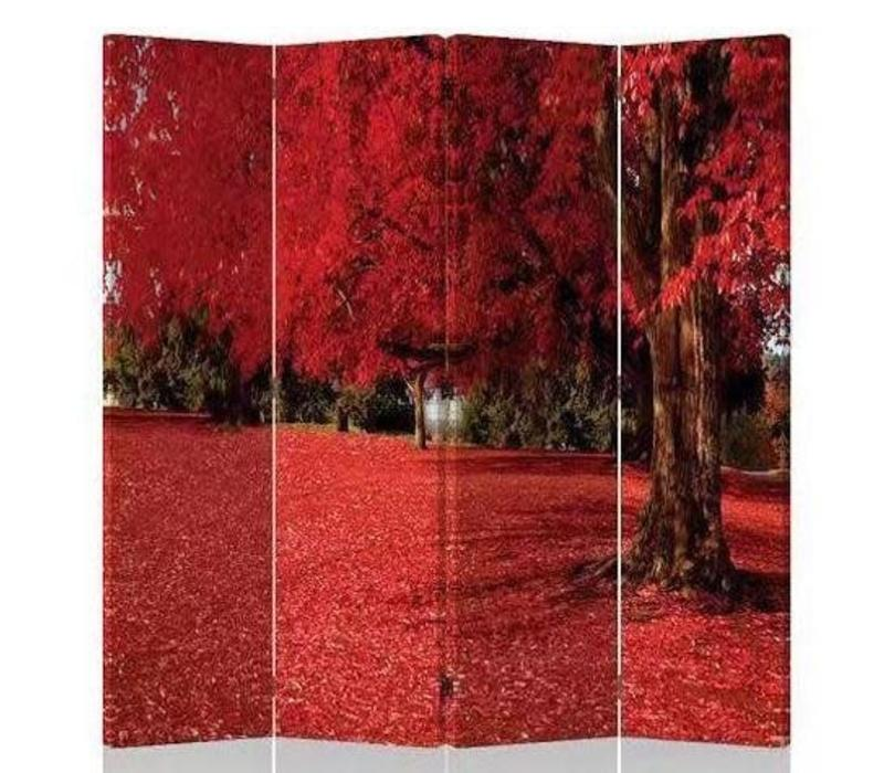Fine Asianliving Room Divider Privacy Screen 4 Panel Red Autumn L160xH180cm