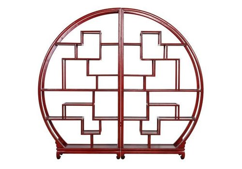 Fine Asianliving Fine Asianliving Chinese Bookcase Round Open Display Cabinet Red L176xH192cm