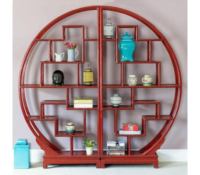 Fine Asianliving Chinese Boekenkast Rond Open Display Kast Rood L176xH192cm