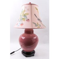 Oriental Table Lamp Porcelain Hand-painted Shade Pink