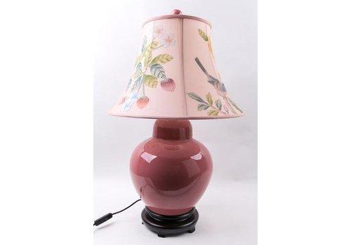 Fine Asianliving Fine Asianliving Oosterse Tafellamp Porselein Handbeschilderde Kap Roze