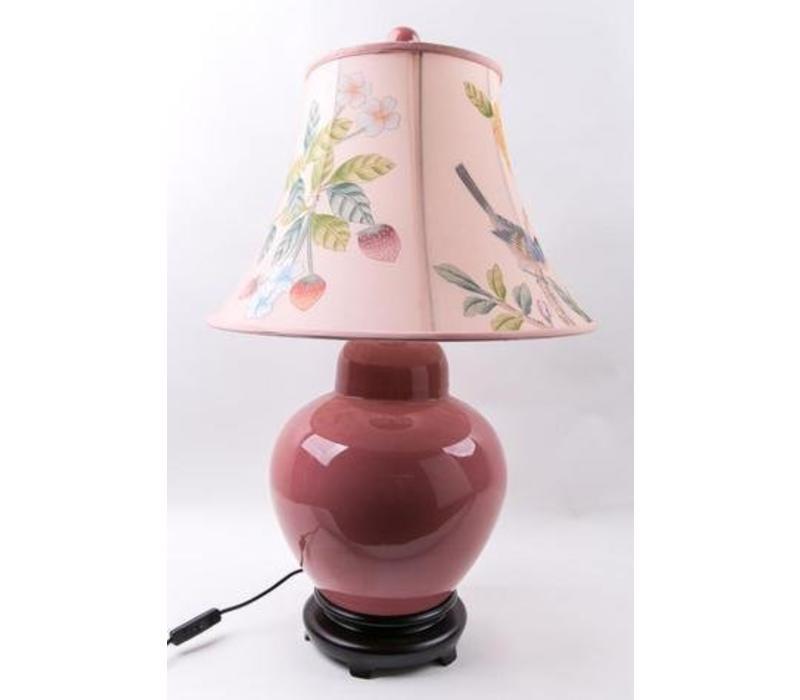 Fine Asianliving Oosterse Tafellamp Porselein Handbeschilderde Kap Roze