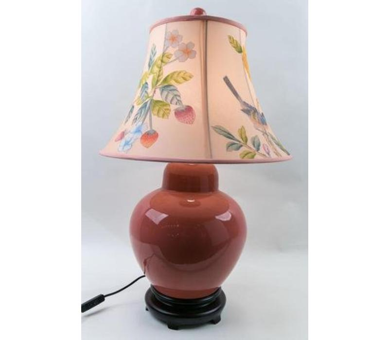 Chinesische Tischlampe Porzellan mit Schirm Handbemalt Rosa