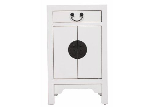 Fine Asianliving Chinese Bedside Table Nightstand Cabinet W42xD35xH70cm White
