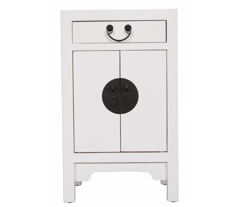 Fine Asianliving Chinese Bedside Table Nightstand Cabinet L42xW35xH70cm White