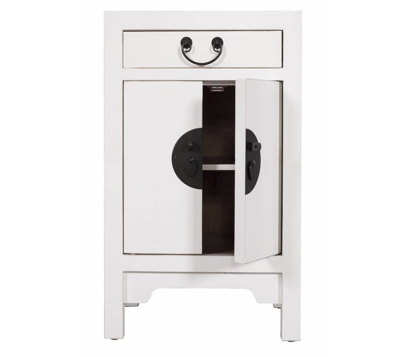 Chinese Bedside Table Nightstand Cabinet L42xW35xH70cm White