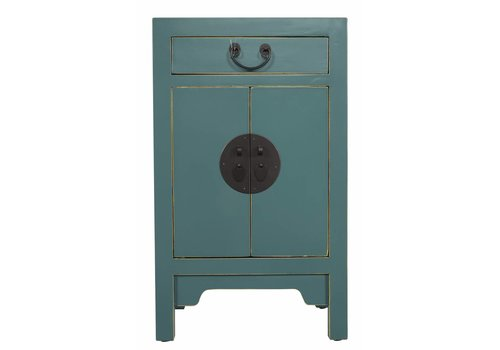 Fine Asianliving Fine Asianliving Chinese Bedside Table Nightstand Cabinet L42xW35xH70cm Teal