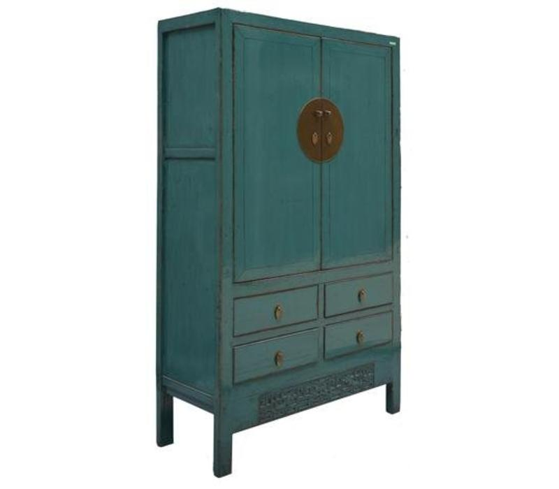 Fine Asianliving Antiques Chinese bridal closet Teal  - Shanxi China